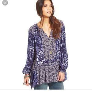 FREE PEOPLE Floral and Tie Dye Blouse